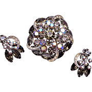 Black Diamond Rhinestone Brooch and Earring Set