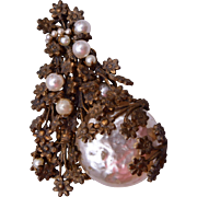 Miriam Haskell Baroque Pearl Christmas Tree Brooch