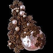 Miriam Haskell Baroque Pearl Christmas Tree Brooch