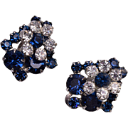 D&E Blue Prong Set Rhinestone Earrings