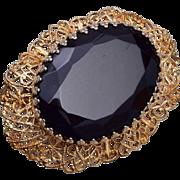 Schiaparelli Black Glass and Filigree Brooch
