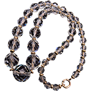 Simmons Gold Filled and Faceted Crystal Necklace on Chain