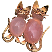 2 -14kt Gold Cats With Rose Quartz Bodies