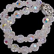 2 Strand Crystal Bracelet with Rhinestone Clasp