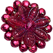 Red West Germany Invisible Look Beaded Brooch