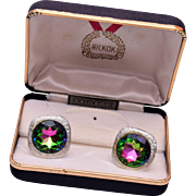 Hickok Watermelon Rhinestone Cuff Links