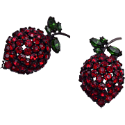 Warner 2 Red Strawberry Brooches