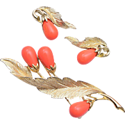 Sarah Coventry Coral Brooch and Earring Set