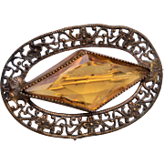 Topaz Stone and Filigree Brooch