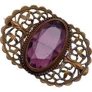Purple Stone and Filigree Brooch
