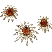 Sarah Coventry Glass Flower Brooch and Earring Set