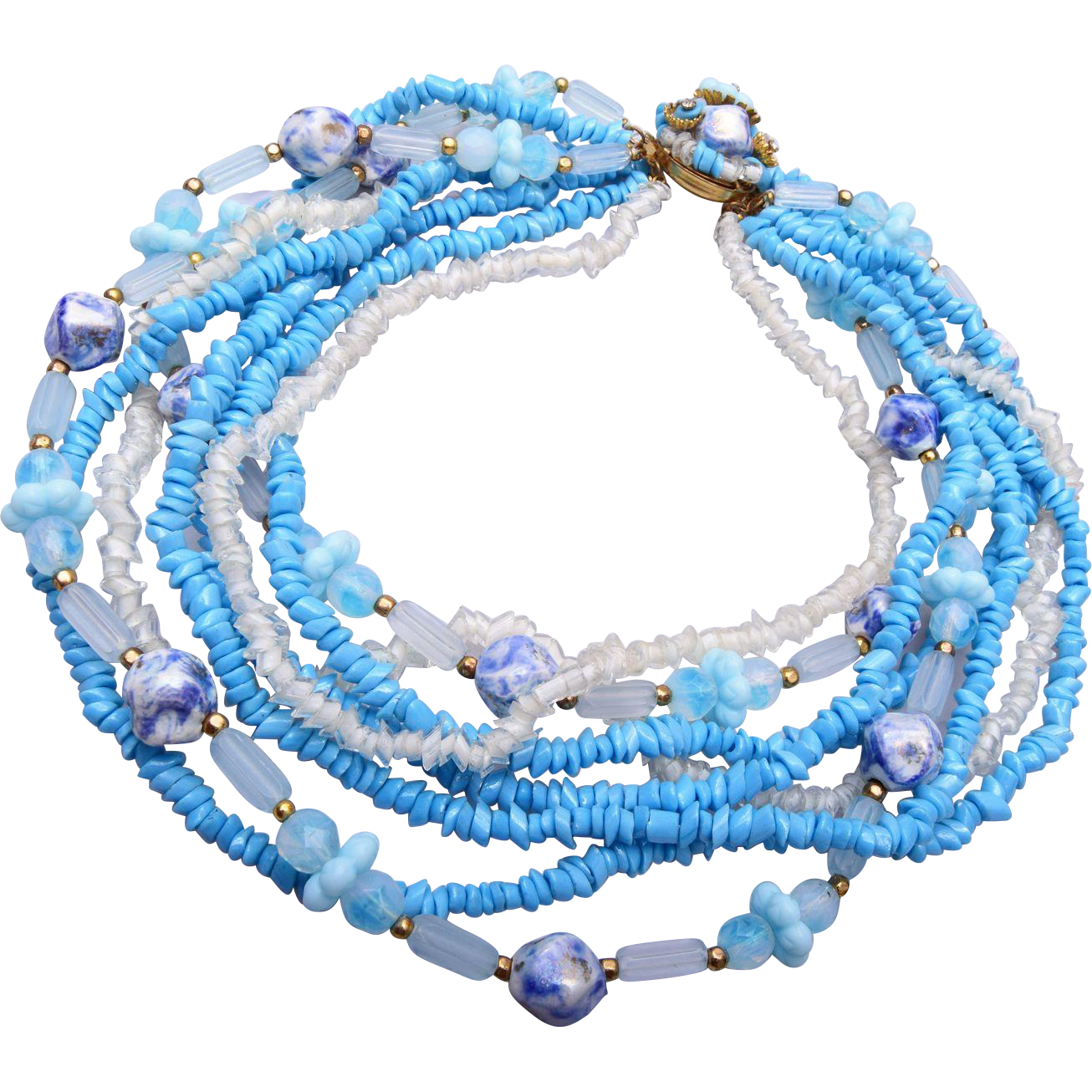 Hattie Carnegie Turquoise Glass Multi Strand Necklace