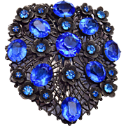 Blue Rhinestone Dress Clip - Beautiful!