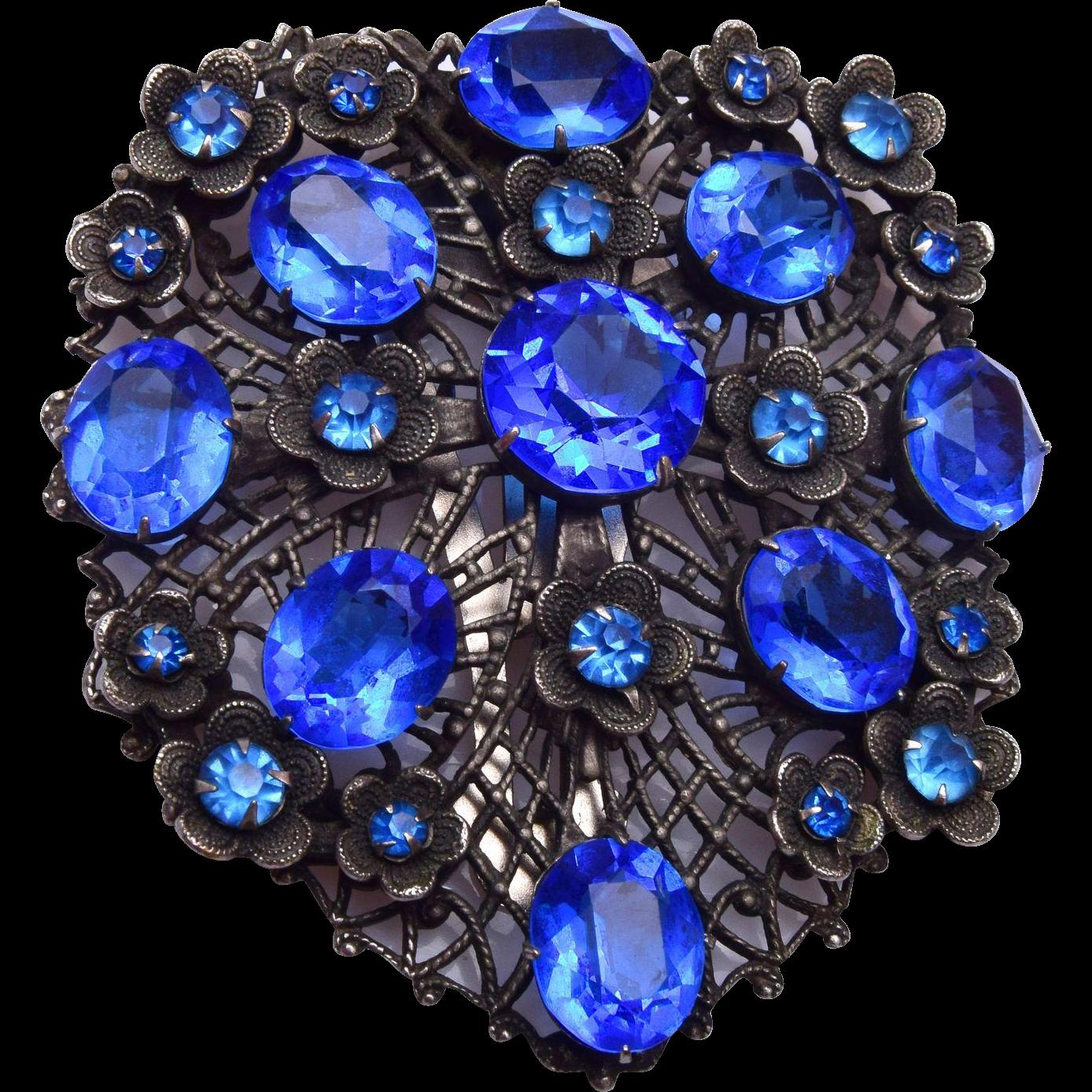 Blue Rhinestone Dress Clip - Beautiful!