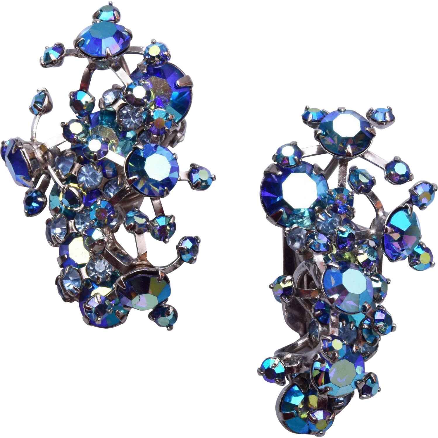 Warner Blue AB Rhinestone Earrings