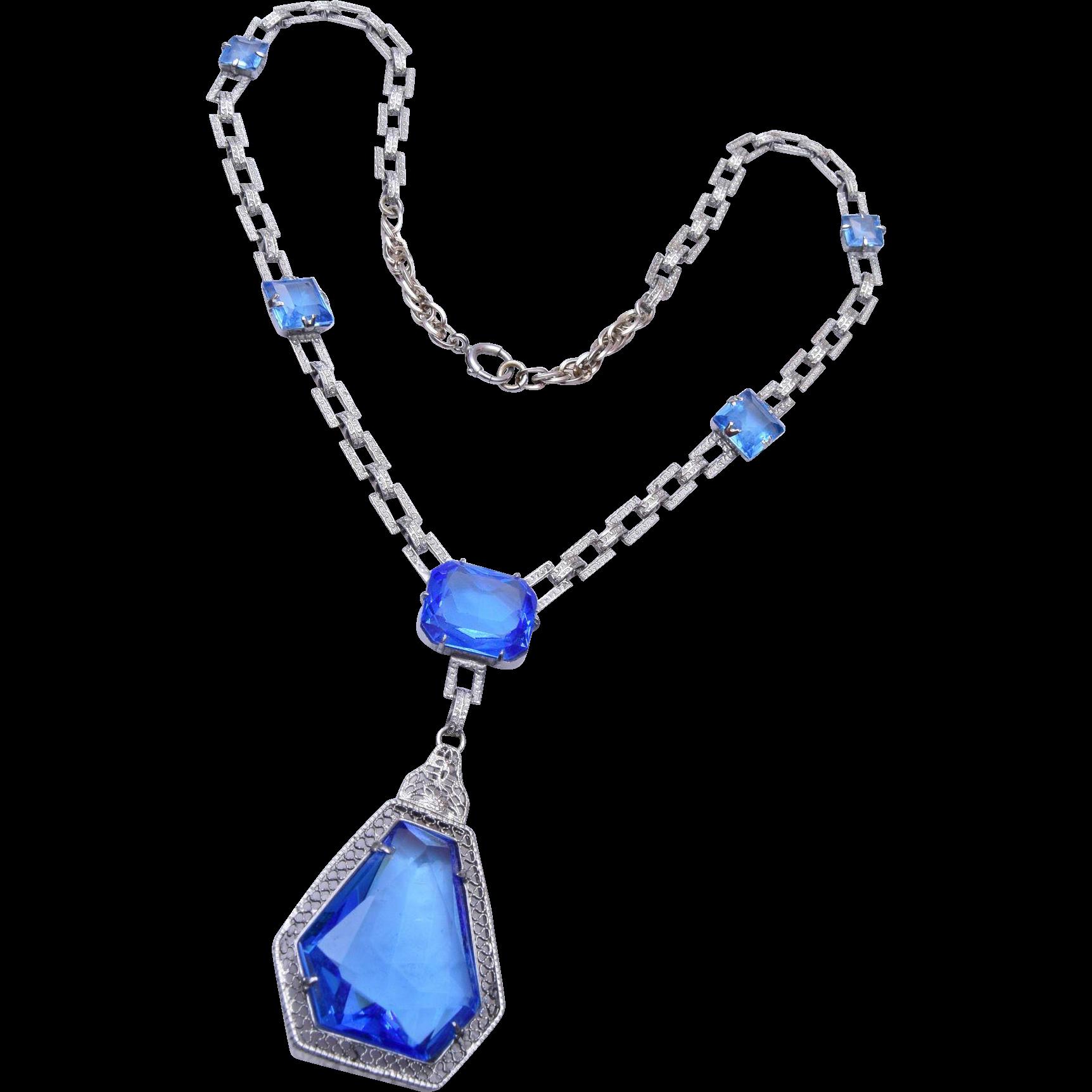 Exceptional Blue Art Deco Necklace