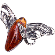 Art Nouveau Silver and Amber Brooch