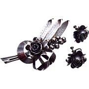 Hobe' Sterling Flower Brooch and Earring Set