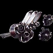 Hobe' Sterling Flower Brooch and Earring Set