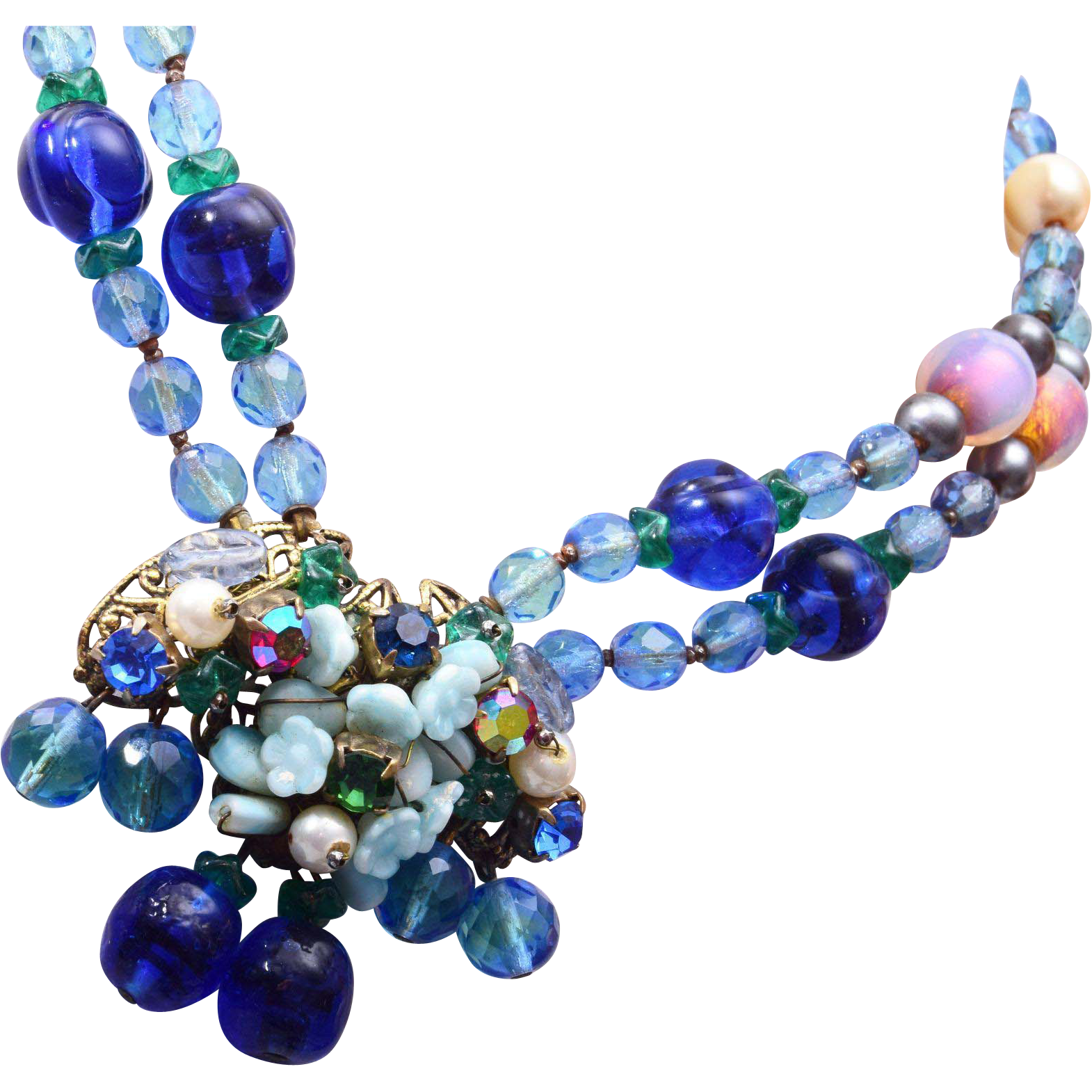 Blue Glass, Crystal and Faux Pearl Necklace