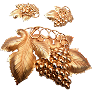 Large 1960's Napier Grape Brooch and Earring Set