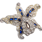 Blue Trembler Orchid Brooch