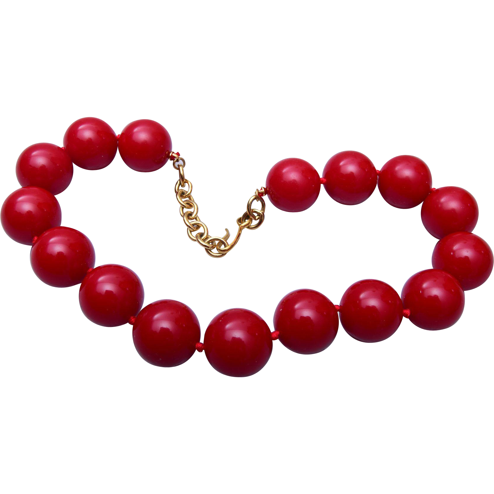 Large Red Plastic Beaded Necklace