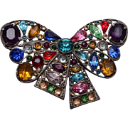 Pot Metal and Colorful Rhinestone Bow Brooch
