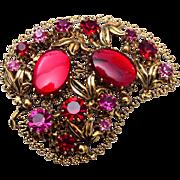 Hazel Red and Pink Rhinestone Brooch