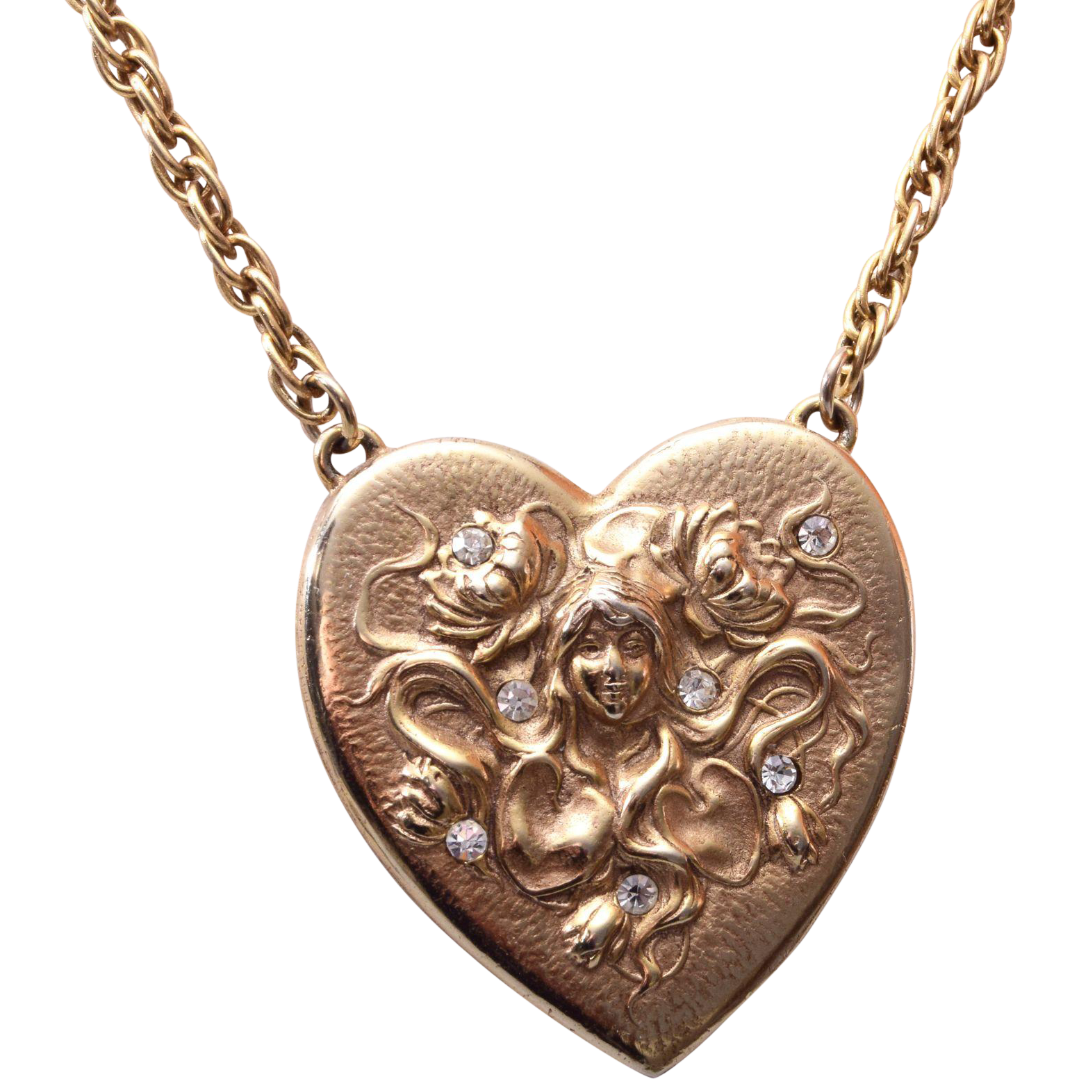 Art Nouveau Style Heart Necklace with Rhinestones