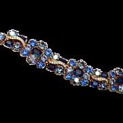 Shades of Blue Prong Set Rhinestone Bracelet
