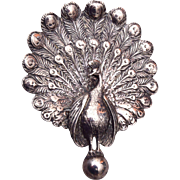 Cini Sterling Peacock Brooch