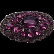 Large Purple Czech Rhinestone Brooch