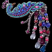 Avon Peacock Rhinestone and Crystal Brooch