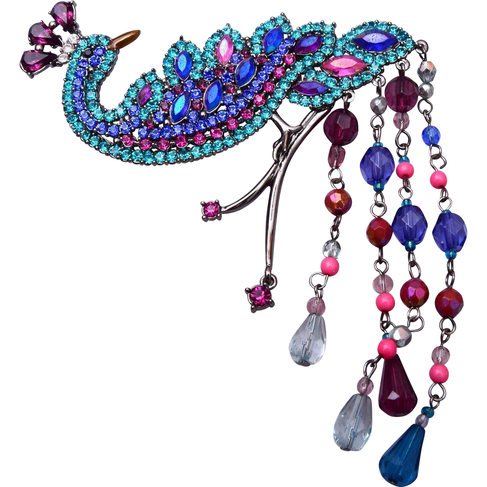 Avon Peacock Rhinestone and Crystal Brooch