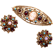 Florenza Cameo Brooch & Earring Set With Turquoise and Garnets