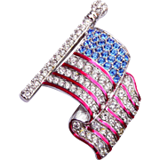 Swarovski Enameled Stripe Flag Brooch