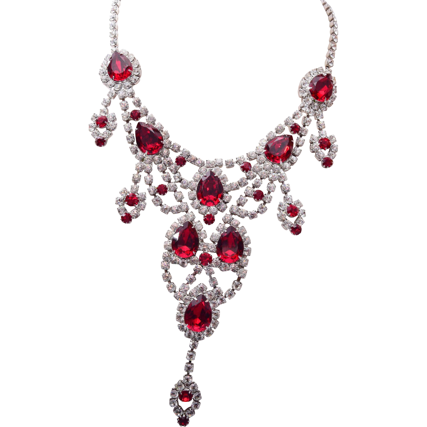 Dominique Red Rhinestone Necklace