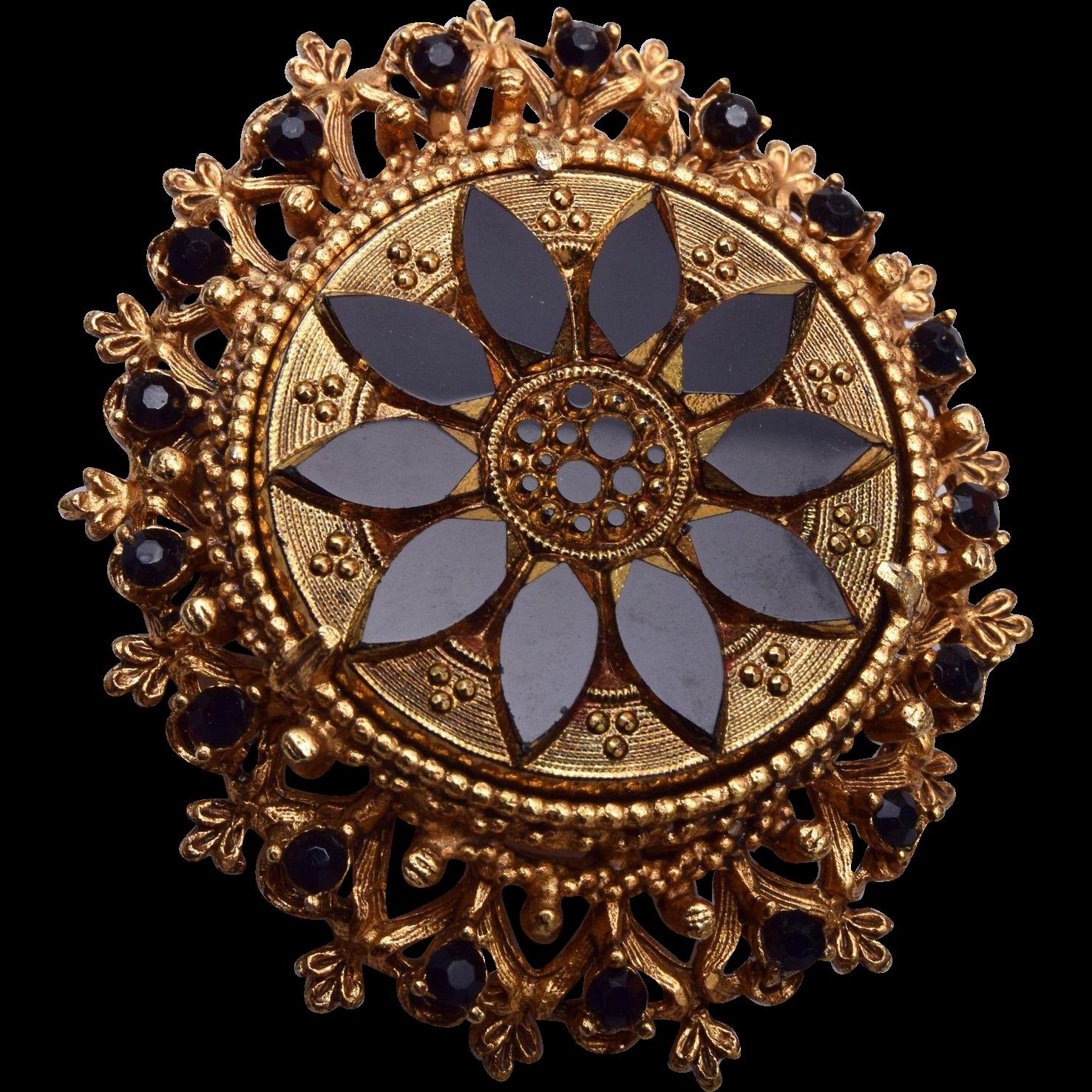 Florenza Black Molded Glass Brooch