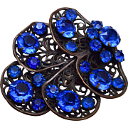 Blue Rhinestone and Filigree Dress Clip