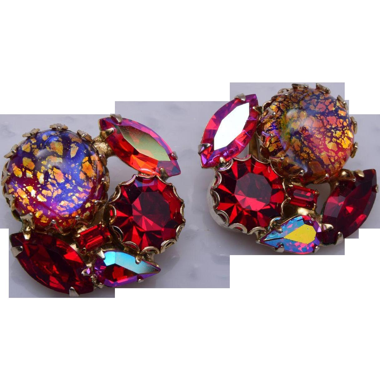 Weiss Red Foil Earrings