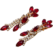 Hattie Carnegie Red Rhinestone Earrings