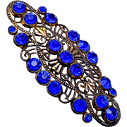 Blue Czech Brooch