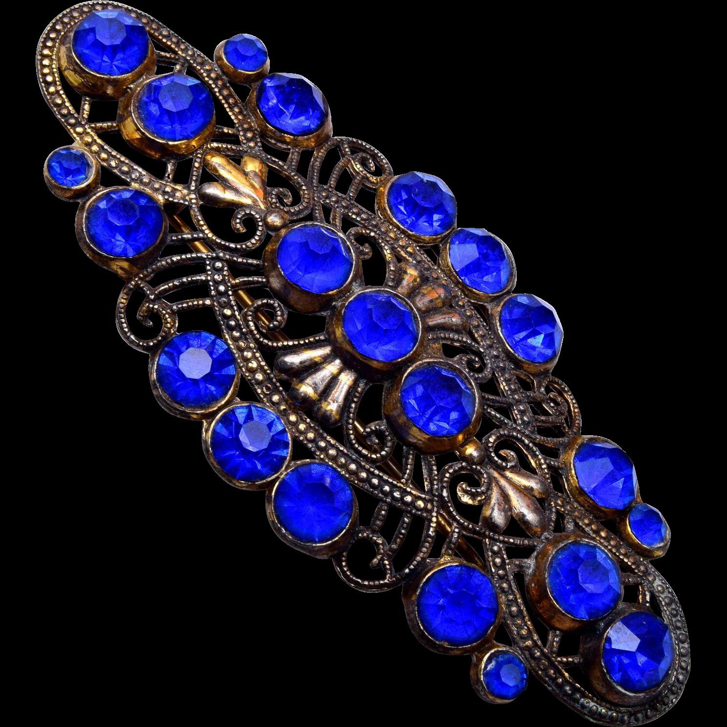 Blue Czech Brooch