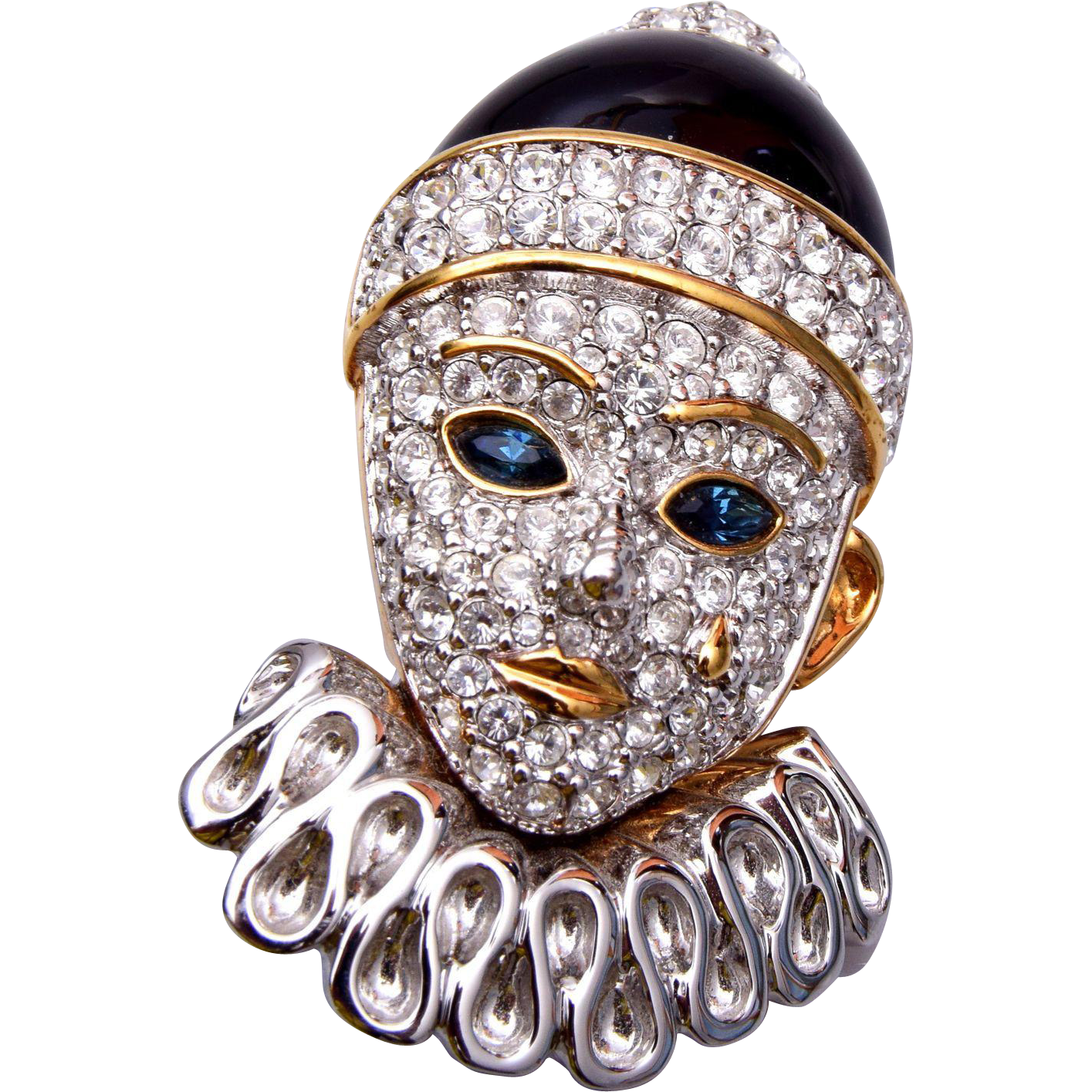 Swarovski Enameled Front and Back Crying Clown Face Brooch
