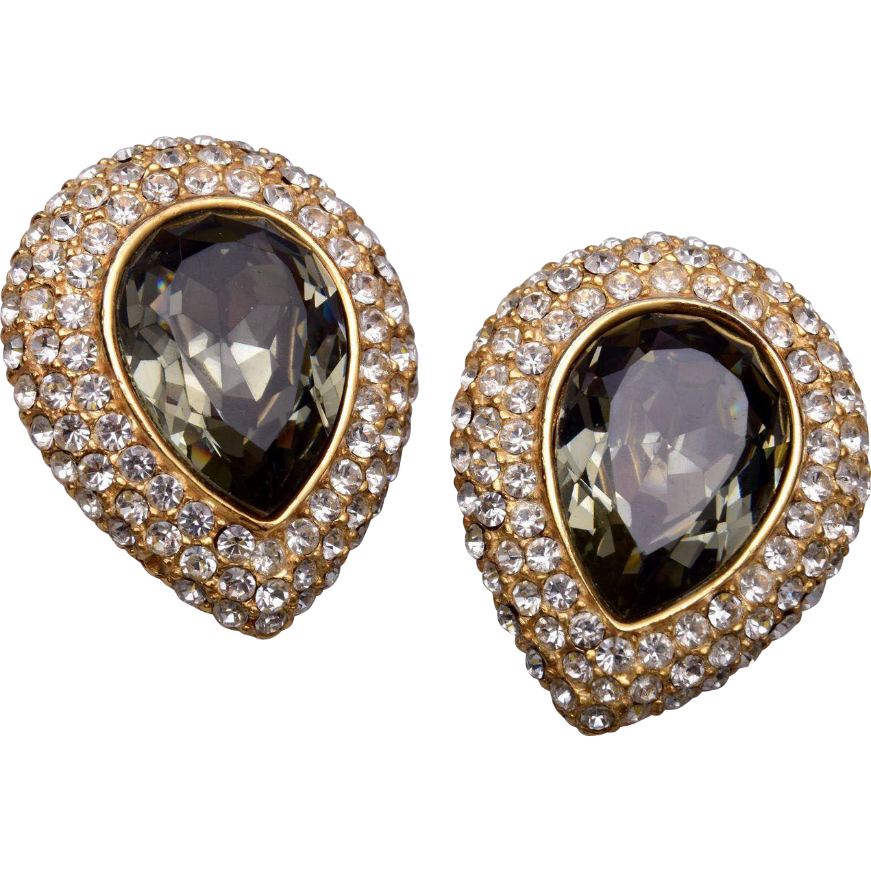 Ciner Tear Drop Rhinestone Earrings