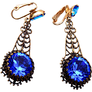 Blue Czech Dangling Open Work Earrings