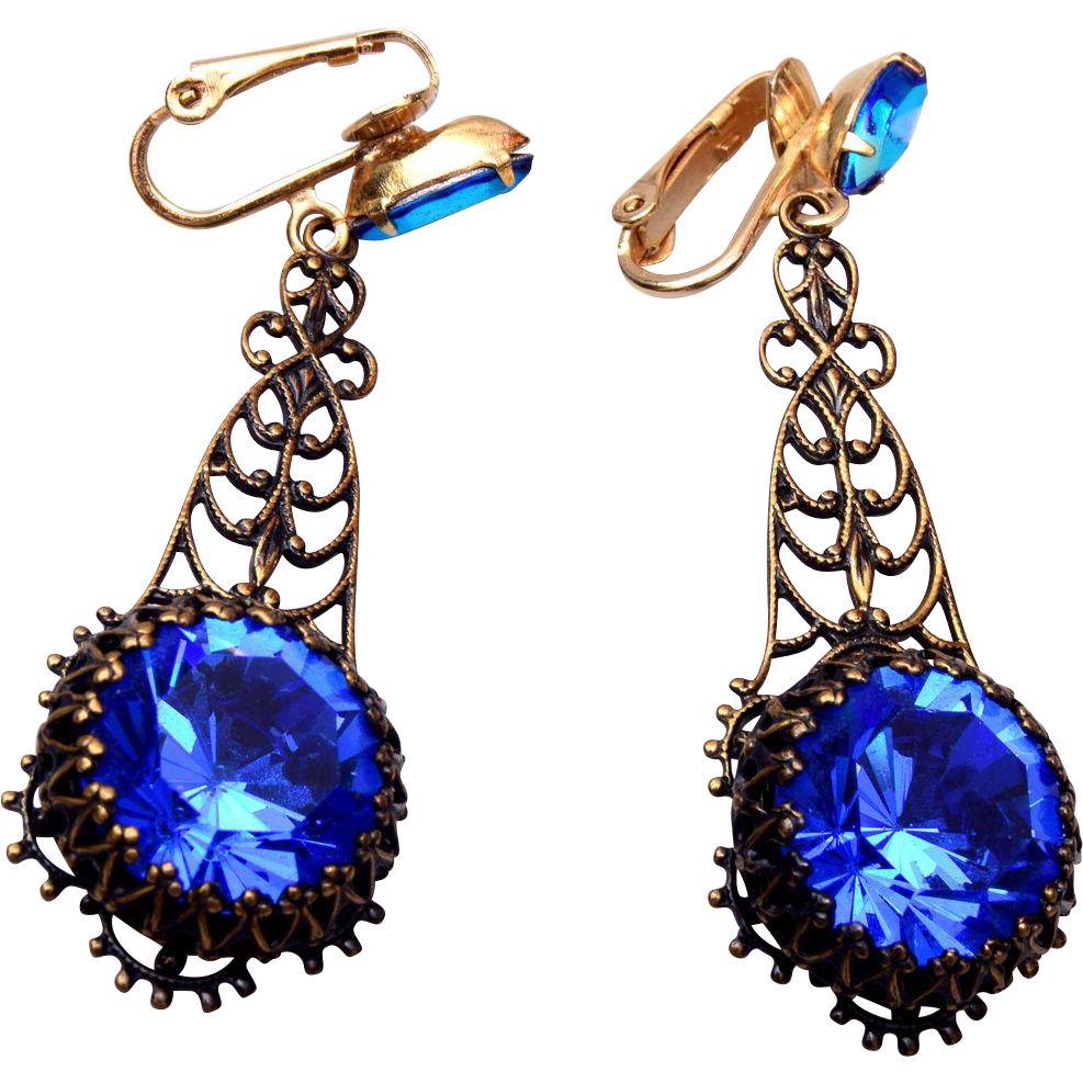 Blue Czech Dangling Open Work Earrings