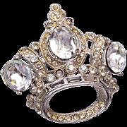 Coro Rhinestone Crown Brooch