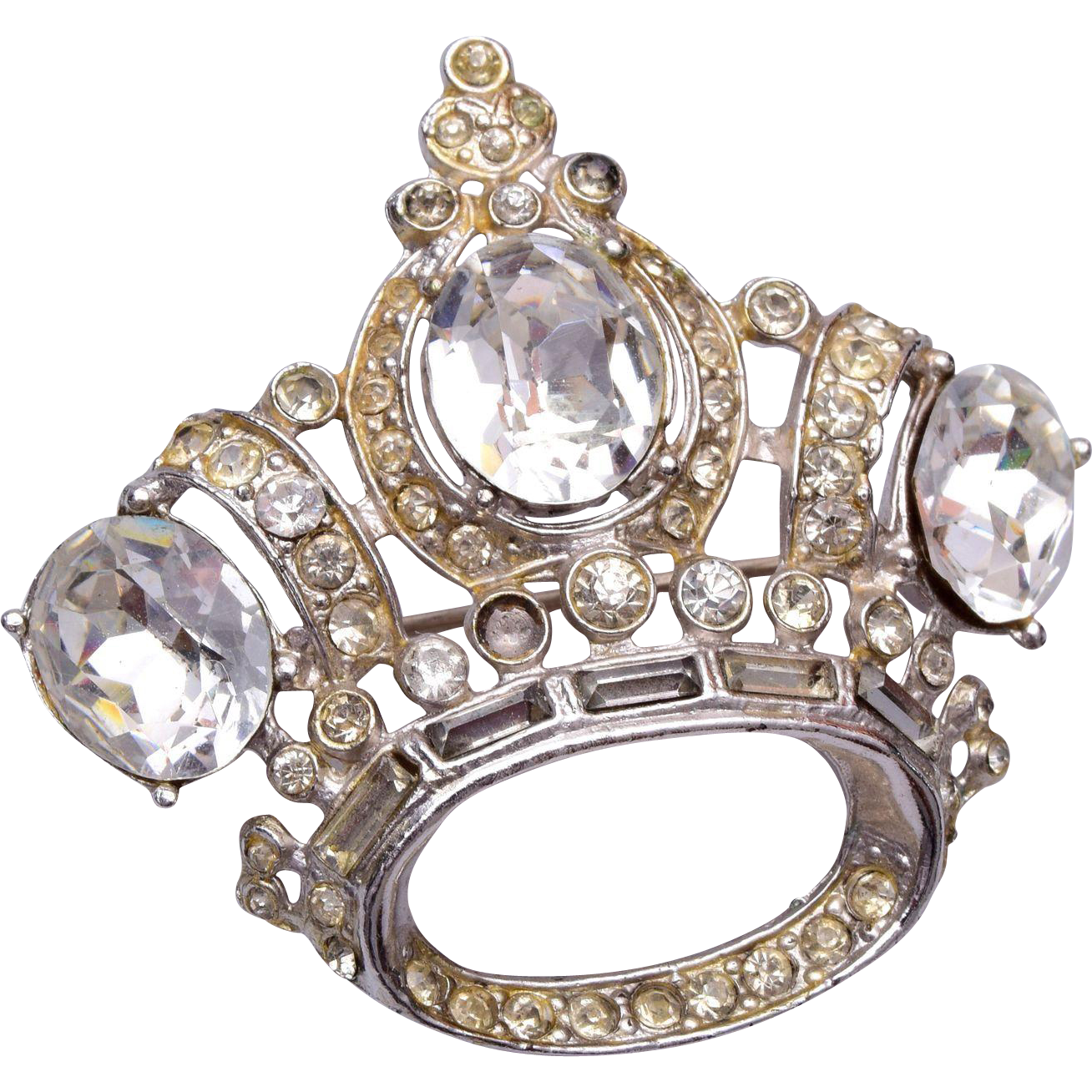Coro Rhinestone Crown Brooch
